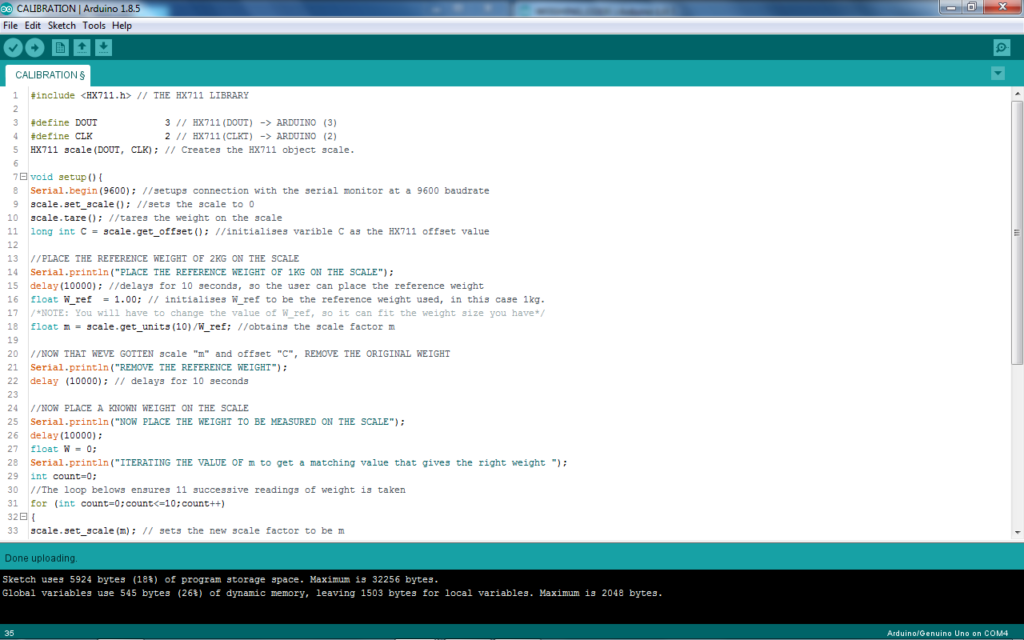 screenshot of code used to calibrate scale